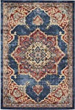 Traditional Persian Rugs Vintage Design Inspired Overdyed Fancy Dark Blue 4′ x 6′ FT (122cm x 183cm) St. James Area Rug Review