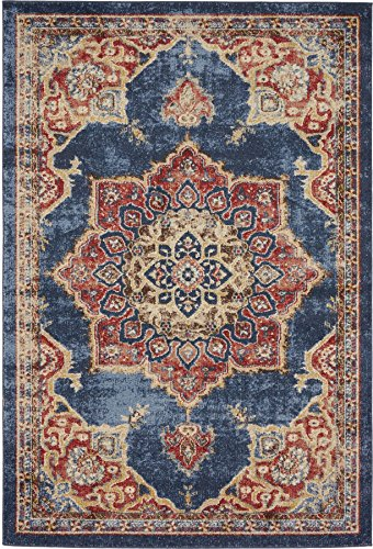 Traditional Persian Rugs Vintage Design Inspired Overdyed Distressed Fancy Dark Blue 4' x 6' FT (122cm x 183cm) St. James Area Rug