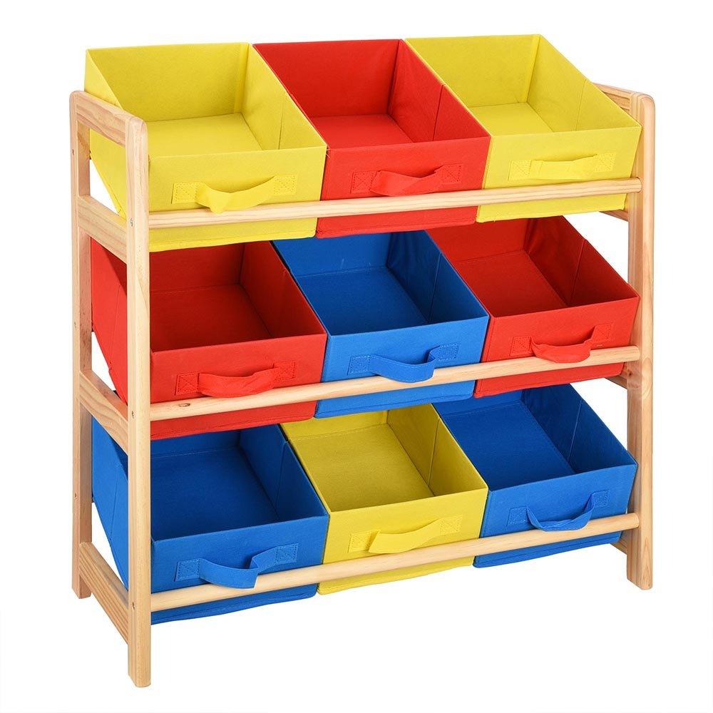 2 Tires Kids Toys Organizer Shelf 9-Bin Wood Kid's Playroom, Bedroom, Drawing Room, etc. US Delivery