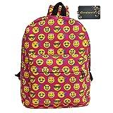 Donalworld Printing Emoji Backpack Canvas School Bag Travel Satchel Rucksack Red