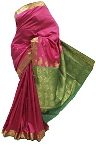 ASB3623 Profondo rosa e verde Arte della Seta Saree Indian Art Silk Saree Sari Curtain Drape Fabric