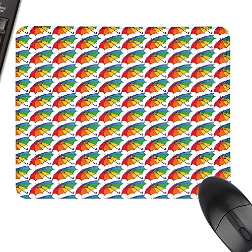 Umbrella Gaming Mousepad Spring Open Classical Umbrellas with Rainbow Colored Canopy Cheerful and Seasonal Natural Rubber Gaming Mouse Mat 11.8