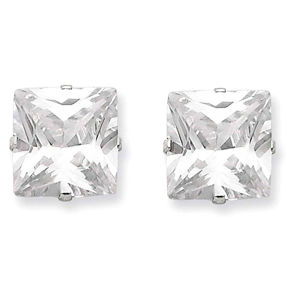 Lex /& Lu Sterling Silver 10mm Square CZ 4 Prong Stud Earrings LAL24358