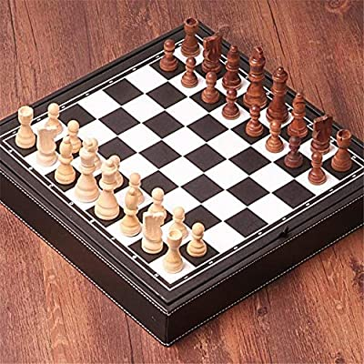 Wooden Chess Set Game, Chess Portable Game, high-Grade Leather Box Chess Board Wooden Chess Piece