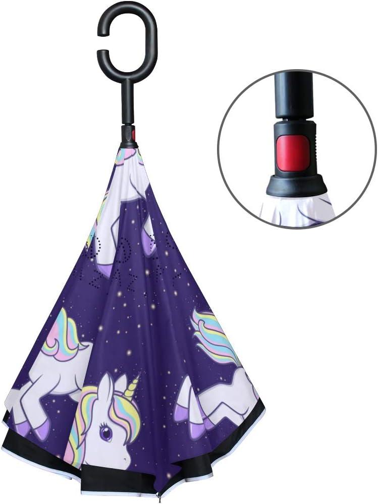 ATONO Running Cute Cartoon Unicorn Double Layer Inverted Reverse Folding Stick Umbrellas Windproof Anti-UV C-Shaped Handle for Car Rain Outdoor