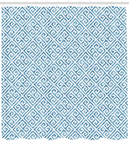li long Greek Key Shower Curtain, Tile Mosaic Pattern in Blue and White with Antique Meander and Camo Effect, Cloth Fabric Bathroom Decor Set with Hooks, 60W X 72L Inches, Baby Blue