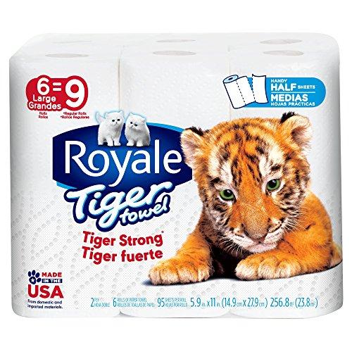 [해외]Royale Tiger 페이퍼 타월 선택-A사이즈 2겹 1 / Royale Tiger Paper Towels Choose-A-Size 2 Ply, Large Rolls, 6 Pack