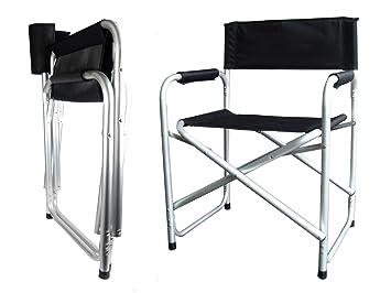 Hyfive Directores Silla Plegable de Aluminio Asiento de Camping con Brazo Negro