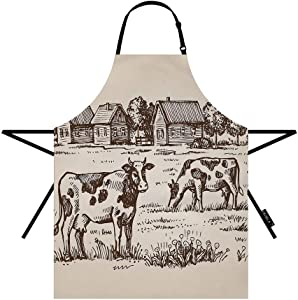 EKOBLA Cow Aprons Farm Village Landscape House Countryside Animal Rustic Tree Nature Waterproof Resistant Chef Cooking Kitchen BBQ Adjustable Aprons for Women Men 27x31 Inch