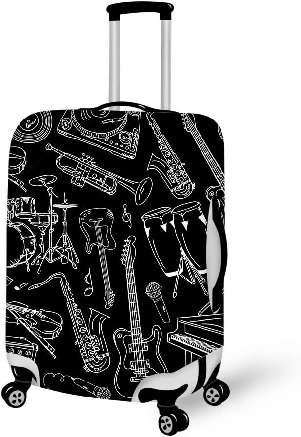 Musical instrument guitar piano bass Travel Luggage Cover Suitcase Protector Fits 22-24 inch Luggage