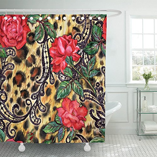in Red Roses and Laces on Leopard Watercolor Drawing Waterproof Polyester Fabric 60 x 72 Inches Set with Hooks ()