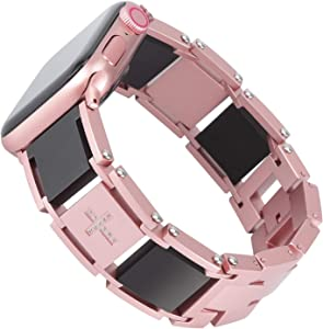 Fohuas two tone Band Compatible for Women Apple Watch 38mm/40mm,Smooth Titanium Stainless Steel Bracelet strap for Apple Watch series 1 2 3 4 5--rose gold black