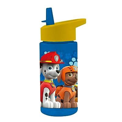 P: os 28230 - Botella, Paw Patrol, Transparente con Pajita, Aprox. 450 ML: Juguetes y juegos