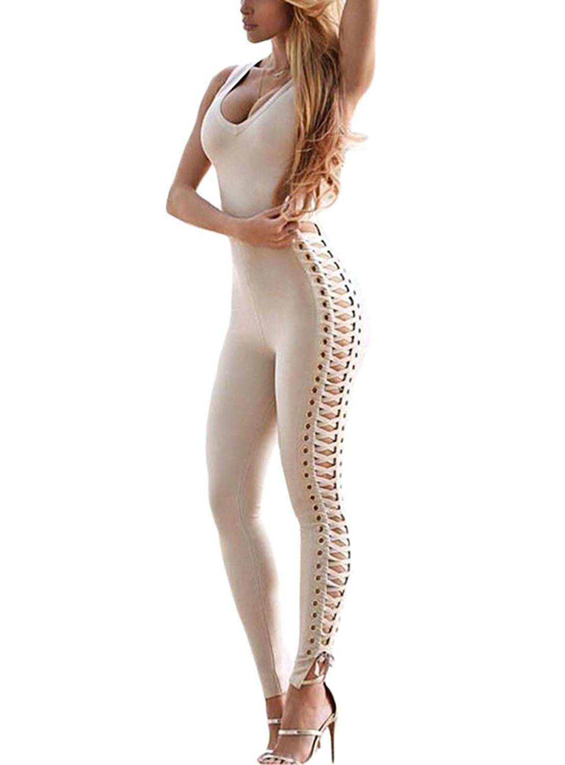 Anmengte Women's Sexy Bodycon Lace Up Side Sleeveless Bandage Jumpsuit