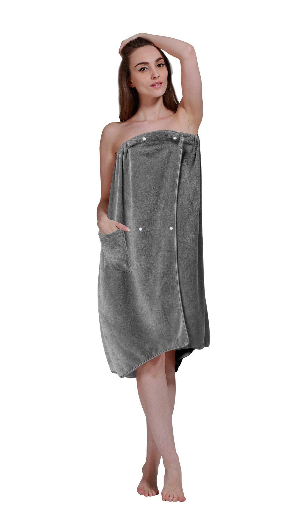 Sinland Microfiber Women's Spa Wrap Towel Bath Towel with Snap Closure (27inchx53inch, Grey)