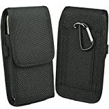 aubaddy Vertical Holster Nylon Belt Case for iPhone 6/6s Plus, 7 Plus, 8 Plus (Fits Phone with a Thin Case) - Black