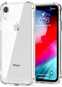 KET for iPhone XR Case, Qi Slim Silicone Hard Transparent Cover Hybrid Shock Absorption Thin Rugged Soft TPU,Clear Lifeproof Bumper Cases for Apple iPhone XR 6.1
