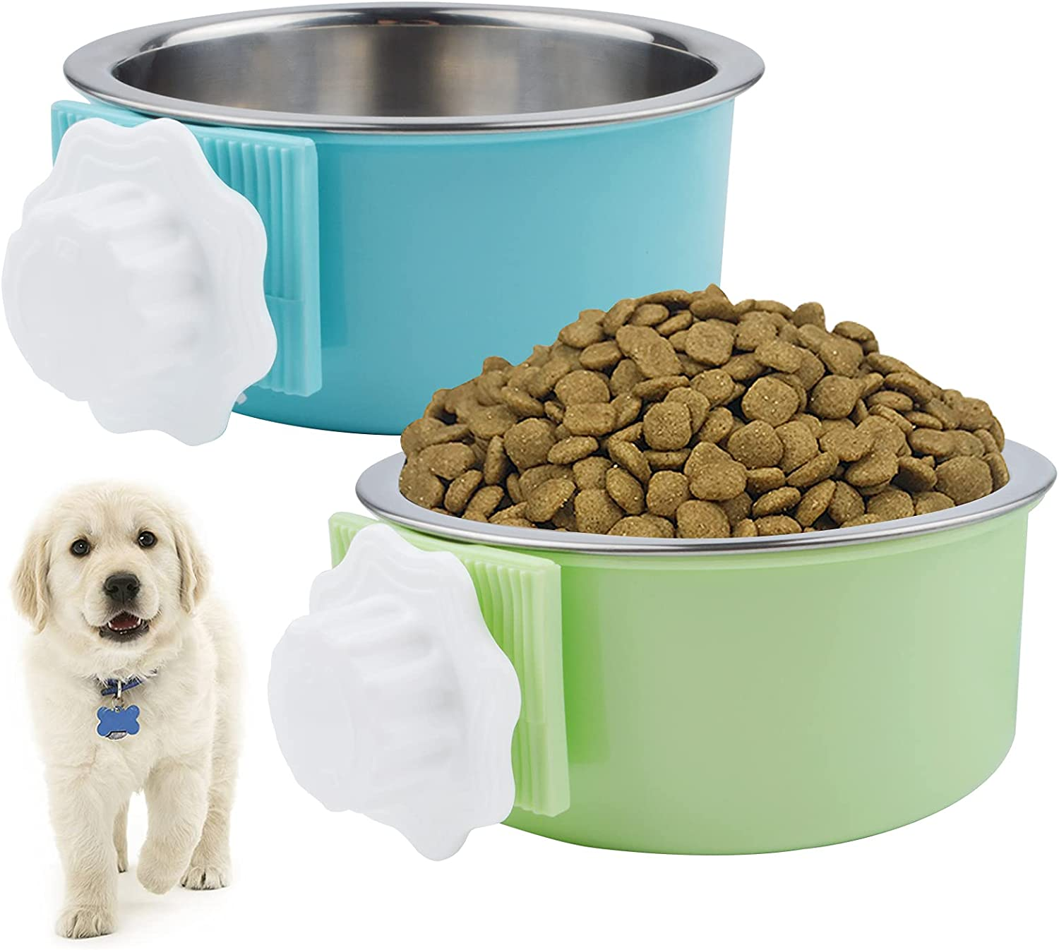 2 Pack Dog Crate Water Bowl No Spill, 2-in-1 Plastic Bowl & Stainless Steel Pet Bowl, Removable Kennel Water Bowl for Pet Small Dogs, Hanging Cage Water Feeder Coop Cup for Cat Bird Rat Rabbit