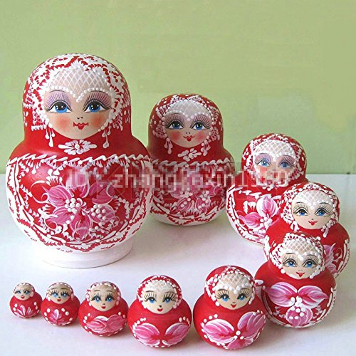 10pcs Cute Wooden Russian Hand Painted Nesting Dolls Babushka Matryoshka gift BEESS