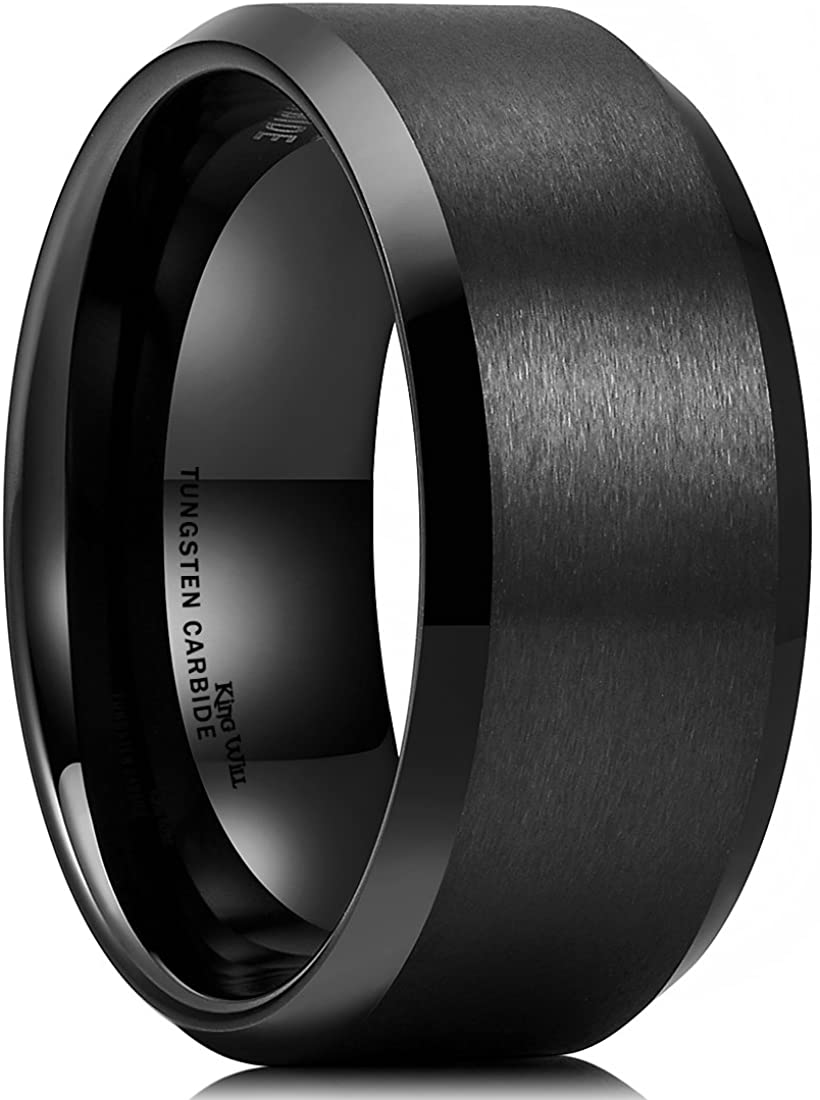 King Will Basic 6mm 7mm 8mm 9mm 10mm Men Wedding Black Tungsten Ring Matte Finish Beveled Polished Edge Comfort Fit