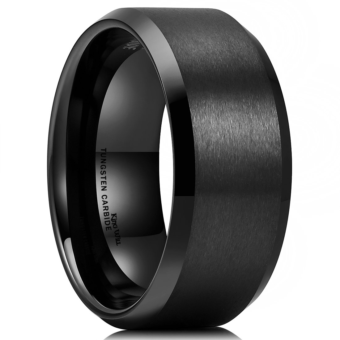King Will Basic Men Wedding Black Tungsten Ring 10mm Matte Finish Beveled Polished Edge Comfort Fit10.5