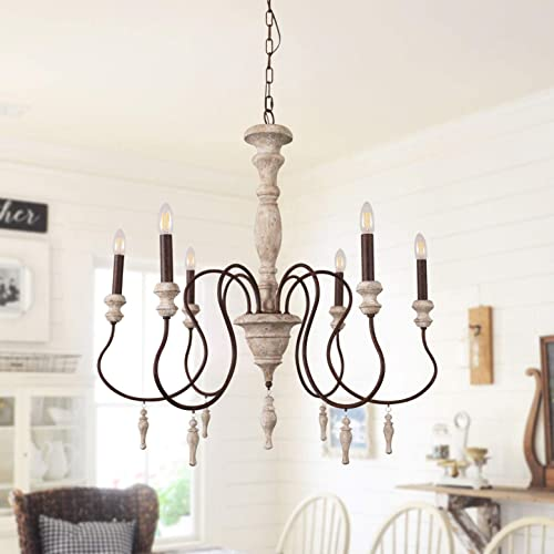 Antique Handmade Wood Chandelier with Drops Farmhouse Pendant Lights for Dining Room, Bedroom and Living Room