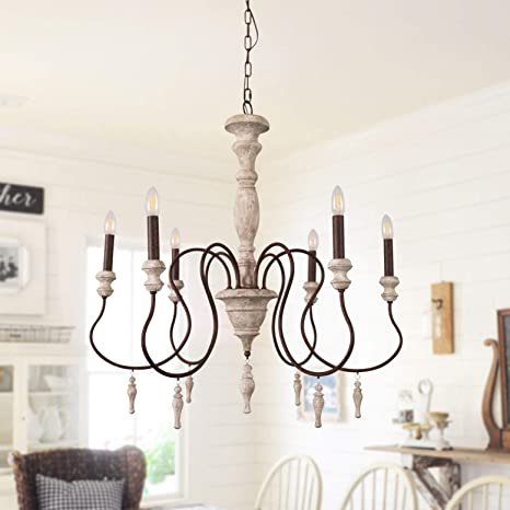 Antique Handmade Wood Chandelier With Drops Farmhouse Pendant Lights For Dining Room Bedroom And Living Room