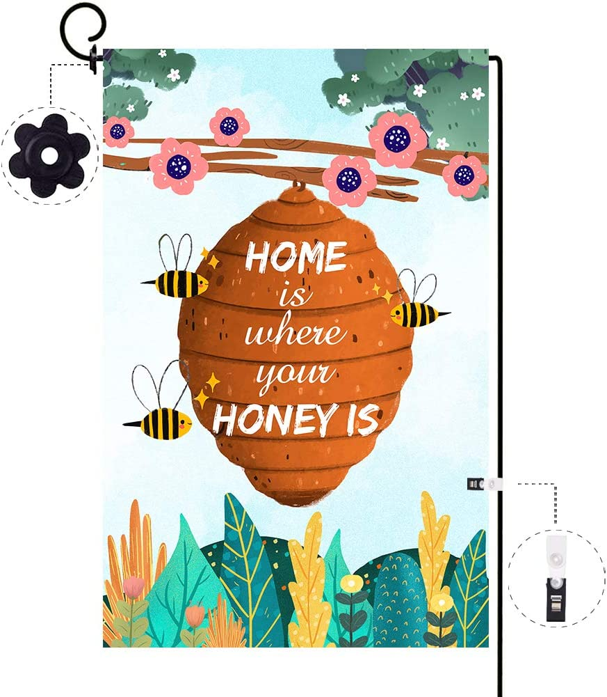 ORTIGIA Home is Where Your Honey is Garden Flag Vertical Double Sized, Polyester Summer Spring Bee Garden Yard Outdoor Decoration,Seasonal Outdoor Flag 12.5 x 18inch