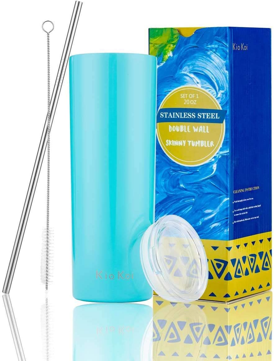 KIOKOI 20 oz Stainless Steel Vacuum Insulated Skinny Wine Tumbler with Lid and Stainless Steel Straw, Double Wall Slim Travel Cup for Wine, Coffee, Beer, Tea, Cocktails, Drinks (Aqua Blue)