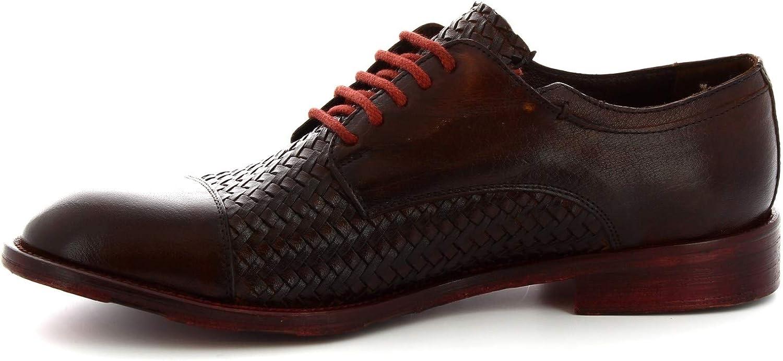 Leonardo Shoes Chaussures Derby à Lacets à la Main en Cuir tressé Brun foncé - Code modèle: 6570/2 Candy Tuff Cuoio Scuro Tête de Maure