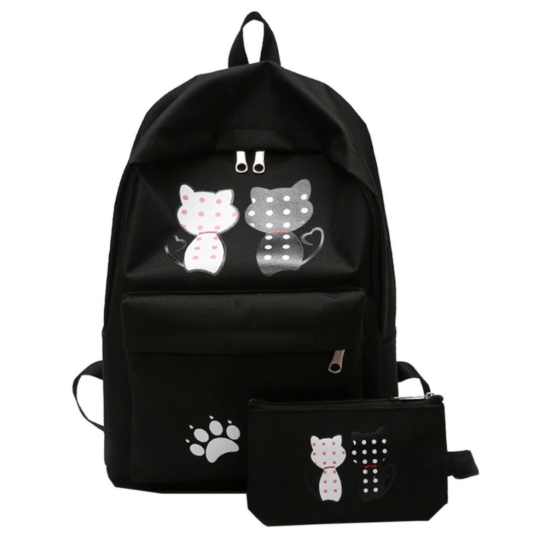 Mysky 2PC Fashion Girl Student Nylon School Bag Backpack Travel Shoulder Bag Clutch Wallet (Black)