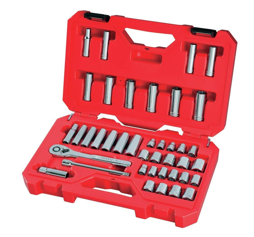 CRAFTSMAN Mechanics Tool Set, SAE / Metric, 3/8-Inch Drive, 40-Piece (CMMT12018) by Craftsman
