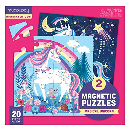 (Mudpuppy Magical Unicorn Magnetic Puzzles – Ages 4-7 – Includes 2, 20-Piece Magnetic Puzzles and a Magnetized Tri-Fold Portfolio – Great for Travel, Quiet Time – Mess-Free Magnets Adhere to Portfolio)