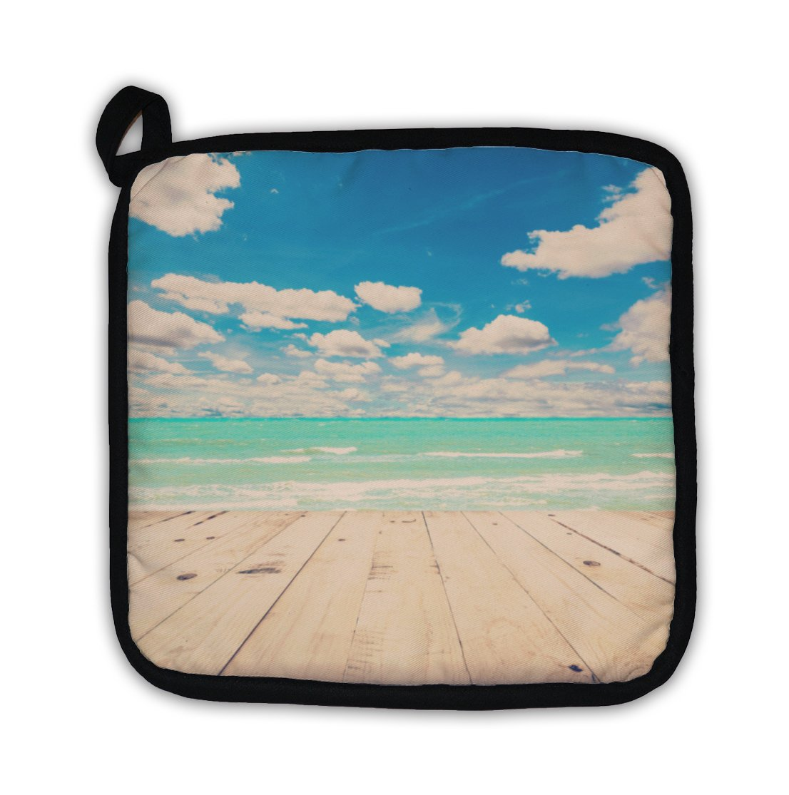 Gear New ''Beach Sea & Blue Sky Clouds with Wood Table Vintage Tone'' Pot Holder
