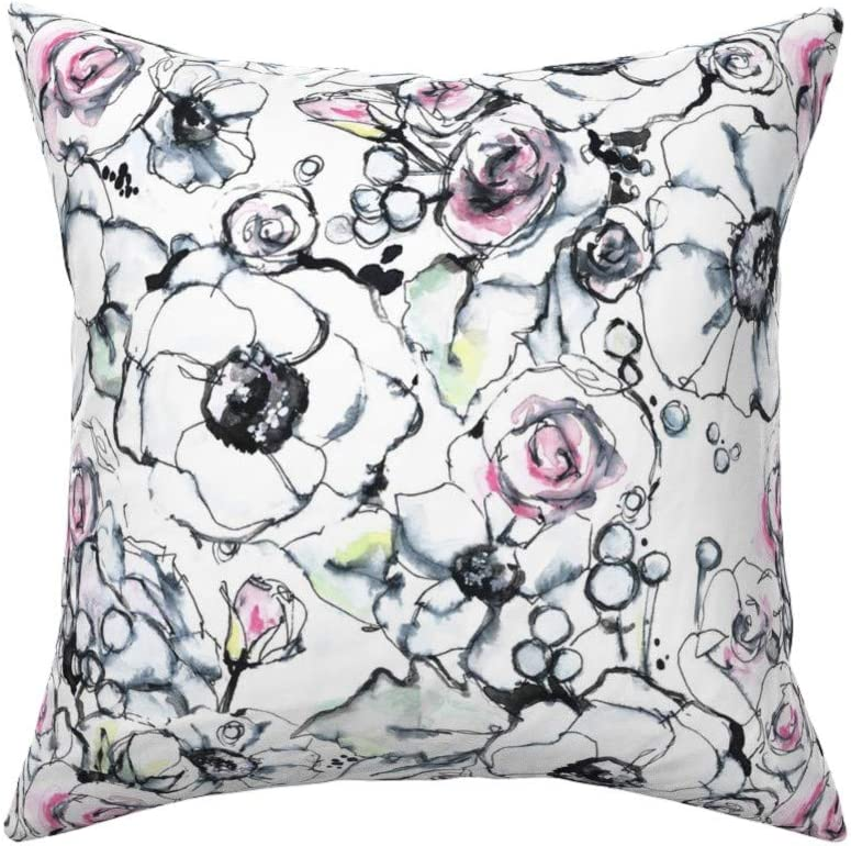 Roostery Throw Pillow Modern Floral Sketched Spring Watercolor Nature Garden Print Linen Cotton Canvas Knife Edge Accent Pillow 18in X 18in With Insert Home Kitchen