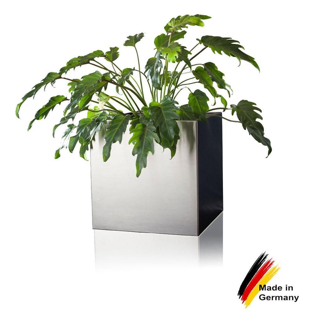 Pflanzkübel Blumenkübel CUBO 30 Edelstahl gebürstet, 30x30x30 cm ...