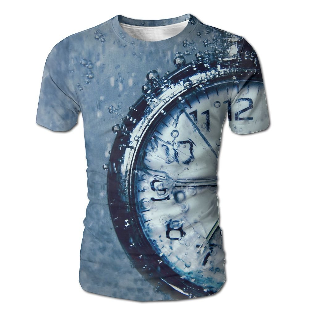 Samcoper 3D Print Short Sleeve O-Neck T-Shirt Clock Under The Water Tees for Men Top