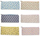 Pencil Bags- Set of 6 Pencil Pouch Organizers for Home and Office, Ideal for Students, Travel Cosmetic Makeup Bag for Women, Assorted Colorful Flower Designs, 9 x 4 x 0.25 inches