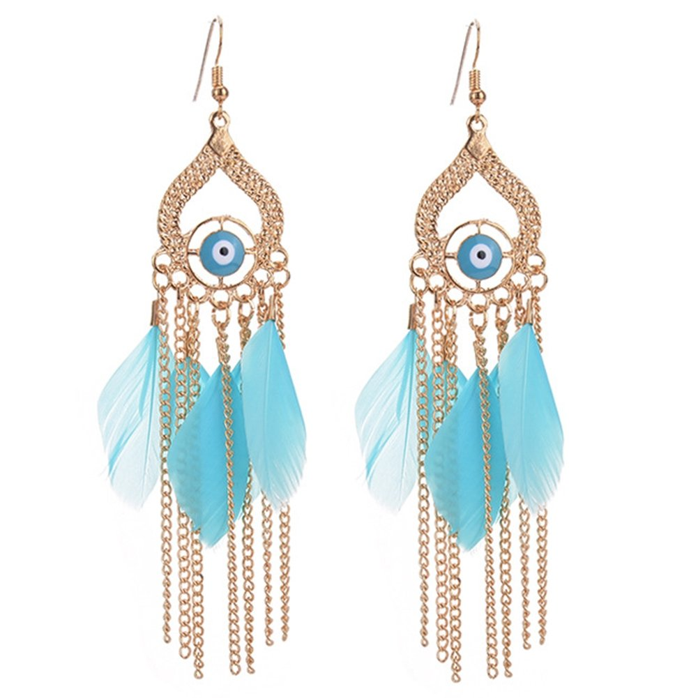 Women Girls Lightweight Hook Dangle FeatherTassel Earrings Trendy Jewelry