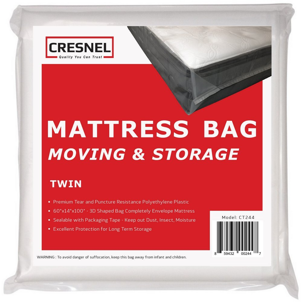 CRESNEL Mattress Bag for Moving & Long-Term Storage - Twin Size - Enhanced Mattress Protection with Super Thick Tear & Puncture Resistance Polyethylene