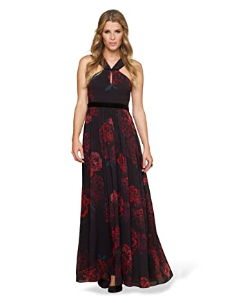 76f95e78ce0 Monsoon Femmes Robe longue Christabel Taille 46 Noir  Amazon.fr ...