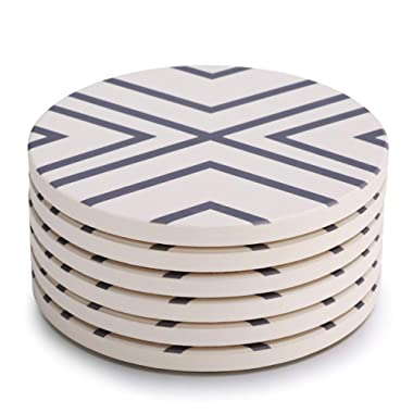 LIFVER 6-Piece Absorbent Stone Set, Drink Spills Coasters, Grey-Lines