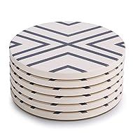 LIFVER 6 Pieces Ceramic Drink Coasters, Absorbent Stone Coaster Set, Grey Lines