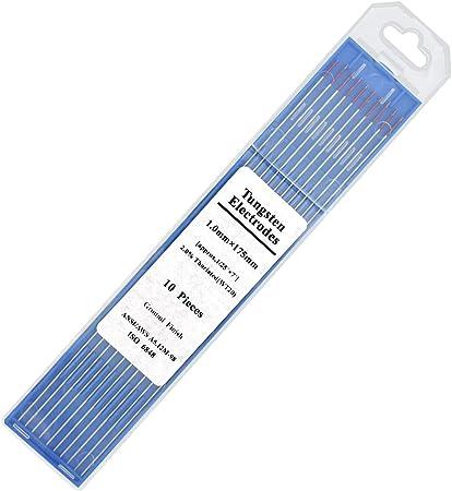 "10PK TIG Welding Tungsten Rod Electrodes 2/% Lanthanated 0.040"" x 7"" Blue, WL20"