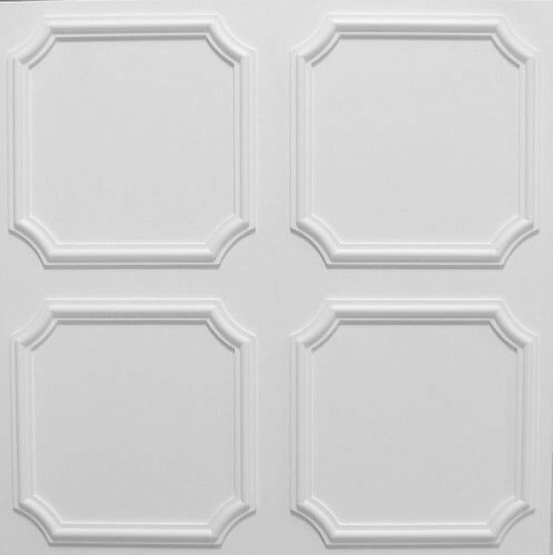 Azulejos de techo de poliestireno laminato Styl ( paquete de 48 pc / 12 metros cuadrados ) Blanco Kaseton