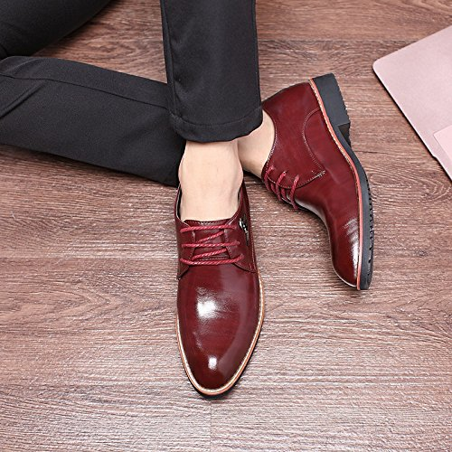 Mocassini Vestito Scarpa Scarpa di Scarpa Uomo Sintetica Uomo Style in Oxfords Martin Pelle Scarpe Comfort Elegante Affari Rosso Piedi Pelle British per Pelle Punta Vino qBqpatXwx