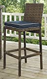 Crosley Furniture Bradenton Outdoor Wicker 29-inch Bar Stools - Weathered Brown with Navy Cushions (Set of 2)