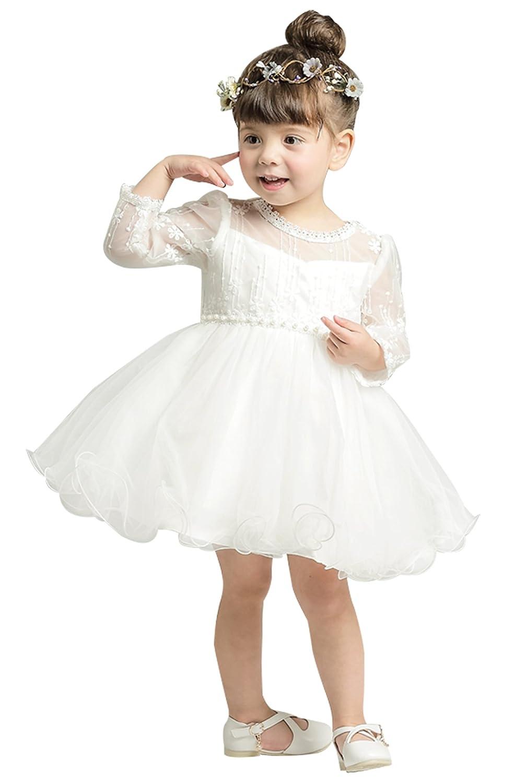 Happy Cherry Baby Girls Long Sleeves Tulle Tutu Dress Christening Baptism Gowns Size 12M - White BKG45946