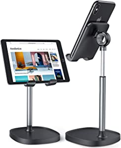 Cell Phone Stand,Angle Height Adjustable LISEN Cell Phone Stand For Desk,Thick Case Friendly Phone Holder Stand For Desk, Compatible with All Mobile Phones,iPhone,Pixel,iPad,Tablet(4-10in)