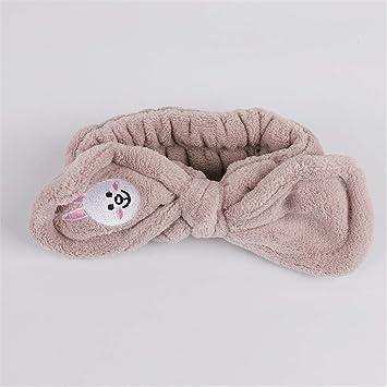 bc14fa71a55 Amazon.com   Headwear Big Rabbit Ear Soft Towel Hair Band Wrap For Bath Spa  Make Up Women Girls Face Washing Elastic Soft Headband   Beauty